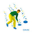 winter sports - curling player clear way to stone vector image