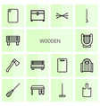 wooden icons vector image vector image