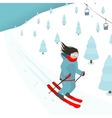 Young Brightly Equipped Girl Slides from Mountain vector image