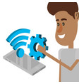 young people and technical support vector image