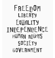 Freedom independence equality concept word cloud vector image