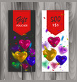 gift voucher card set template with colorful vector image