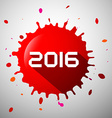 2016 Red Splash Happy New Year Splatter Symbol vector image vector image