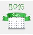 April 2016 calendar template vector image