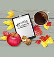 autumn calendar page and cup of coffee vector image