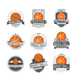 basketball competitions emblems set vector image vector image