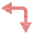 bifurcation arrow left down fabric textured icon vector image vector image