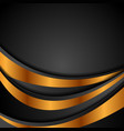 black and bronze colors abstract wavy background vector image