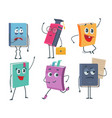 books characters cartoon funny faces old vector image