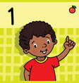 boy showing one by hand counting education card 1 vector image