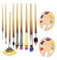 Brushes and Palette vector image vector image