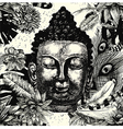 Buddha head seamless pattern black and white Hand vector image vector image