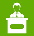 businessman giving presentation icon green vector image vector image