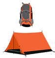 Campimg tent and backpack vector image vector image