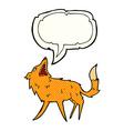 cartoon snapping fox with speech bubble vector image vector image