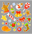 christmas stickers set collection cartoon vector image