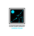 contemporary dancing girl outline and moon vector image vector image