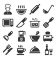 cooking and kitchen icons set on white background vector image vector image