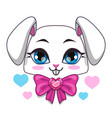 cute cartoon bunny face vector image vector image