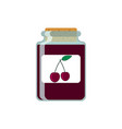 drawing jars with cherry jam on vector image vector image