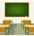 empty school classroom with blackboard and desks vector image