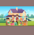 family house moving to new apartment happy vector image vector image