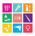 Flat Design Hairdressing Icons Set 9 vector image