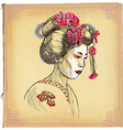 Geisha - An hand drawn sketch freehand colored vector image vector image