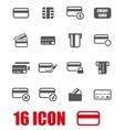 grey credit card icon set vector image vector image