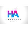 ha h a letter logo with shattered broken blue vector image vector image