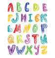 hand drawn colorful alphabet vector image