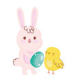 happy easter rabbit with egg chicken rainbow field vector image vector image
