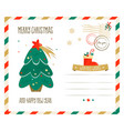 holiday greeting postcard with christmas tree vector image