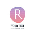 initial letter r abstract line logo style vector image