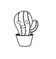 line kawaii cute in love cactus plant vector image vector image