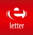 logo abstract letter E on a red background vector image vector image