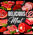 meat products and sausages butchery shop poster vector image vector image