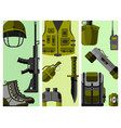 military weapon guns armor forces cards design vector image