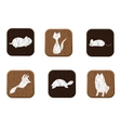 Pet shop wooden icons set with pets silhouettes vector image vector image