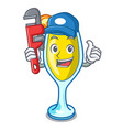 plumber mimosa mascot cartoon style vector image