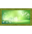 rectangle green bamboo stems border with blurred vector image