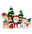 santa and happy girls on christmas vector image