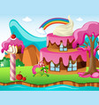 scene with cakehouse and rainbow vector image vector image