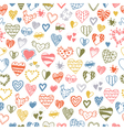 seamless pattern of hand drawn doodle hearts vector image
