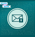 secret mail icon on a green background with vector image vector image