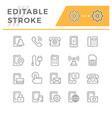 set editable stroke line icons phone vector image vector image
