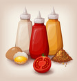 set of delicious fast food sauces vector image vector image