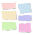 set of pastel color paper tears with soft shadow vector image vector image