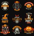 Set of Retro Vintage Happy Halloween Badges vector image vector image