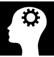 silhouette a mans head with a picture m vector image vector image